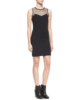 Rag & Bone Franklin Fitted Mesh-Top Dress