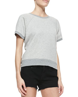 rag & bone/JEAN Rocky Short-Sleeve Knit Sweatshirt