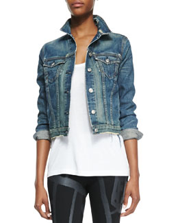 rag & bone/JEAN Distressed Cropped Jean Jacket