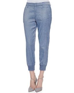 7 For All Mankind Draped Ankle Pants with Smocked Hem, Chambray