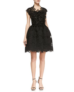 Naeem Khan Short Sleeve Beaded Bodice Lace Party Dress, Black