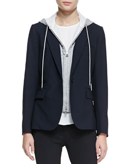 Veronica Beard Classic Stretch-Wool Jacket with Dickey