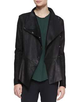 Veronica Beard Leather/Ponte Peplum Moto Jacket
