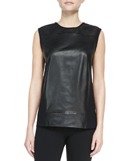 Helmut Lang Ink Leather/Knit Sleeveless Top