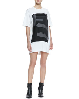Helmut Lang Pact Graphic-Front Jersey T-Shirt Dress