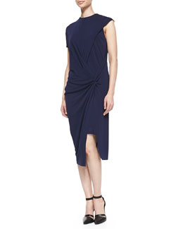 Helmut Lang Helix Twisted Draped Jersey Dress