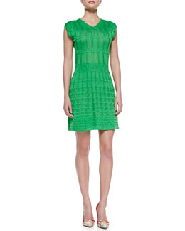 M Missoni Cap-Sleeve V-Neck Knit Dress