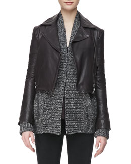 J Brand Ready to Wear Aiah Leather Zip-Front Jacket, Kona