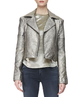 J Brand Ready to Wear Aiah Metallic Leather Moto Jacket