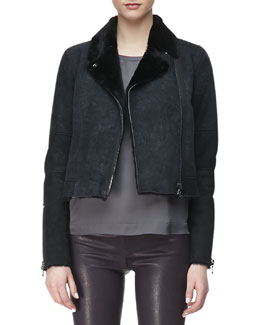 J Brand Ready to Wear Lana Leather Jacket with Fur Collar