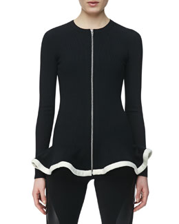 McQ Alexander McQueen Knit Zip-Front Jacket with Peplum, Black/White