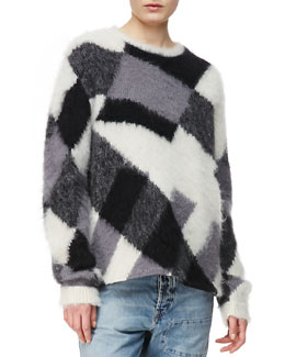 McQ Alexander McQueen Crew Neck Mohair-Blend Sweater, White/Black/Gray