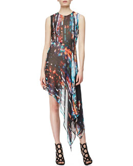 McQ Alexander McQueen Sleeveless Asymmetric Printed Silk Dress, Blurry Light