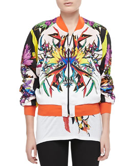 Just Cavalli Reversible Bomber Jacket, Orange/Multi