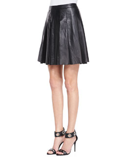 10 Crosby Derek Lam Pleated Faux-Leather Skirt