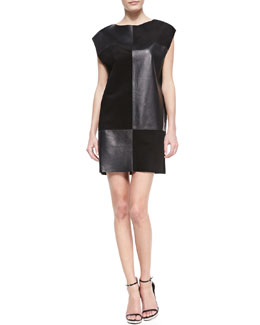 10 Crosby Derek Lam Patchwork Suede/Leather Combo Dress