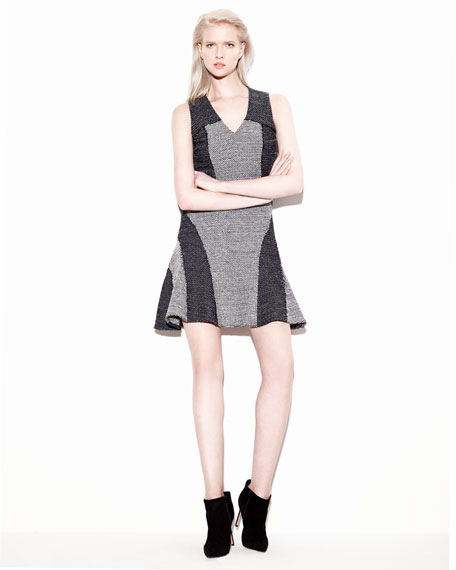 V-Neck Tweed Fit-and-Flare Dress