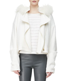 L'Agence Oversized Fur-Hood Jacket