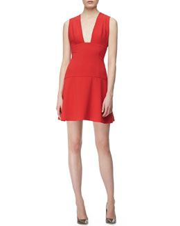 Thakoon Addition Sleeveless Plunging Open Front Dress, Red