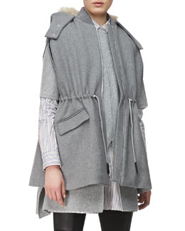 Thakoon Addition Drawstring-Waist Hooded Cape