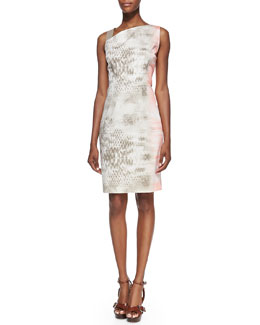 Elie Tahari Emory Snake-Print Dress with Leather Shoulder Strap
