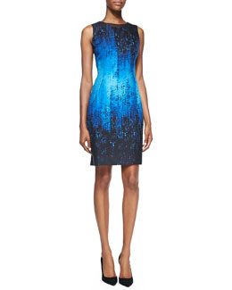 Elie Tahari Holly Sleeveless Digital-Print Dress