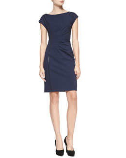 Elie Tahari Landi Cap-Sleeve Dress with Faux Leather Detail