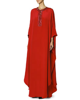 Emilio Pucci Long Caftan with Jewel-Trimmed Collar, Rosso Scur