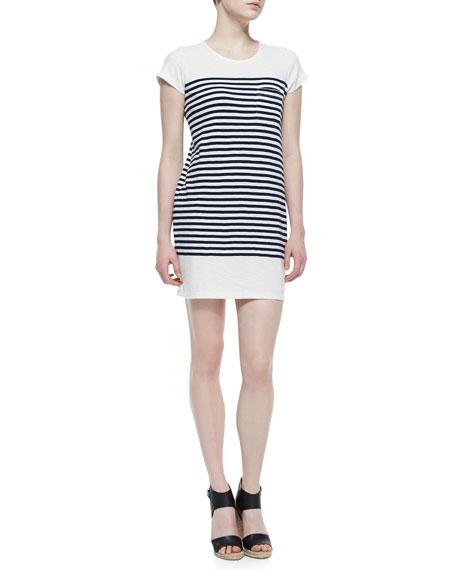 Courtina Striped-Jersey Short-Sleeve Dress, Porcelain/Dark Navy