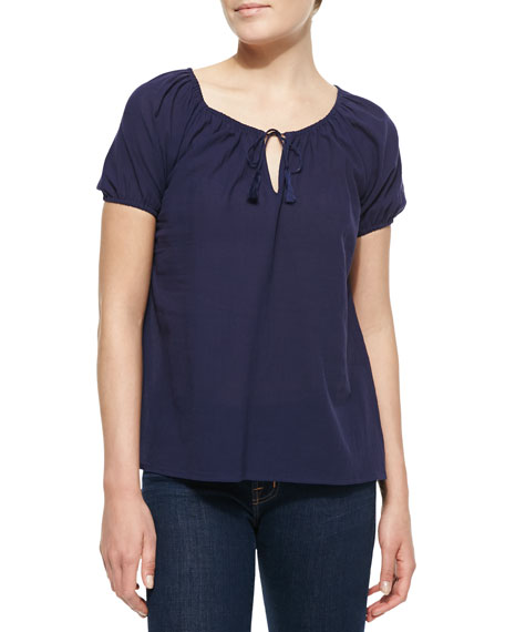 Veloria Crepe Short-Sleeve Top, Dark Navy