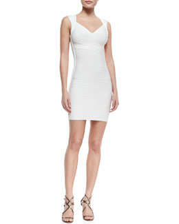 Herve Leger Queen Liz V-Neck Short Bandage Dress