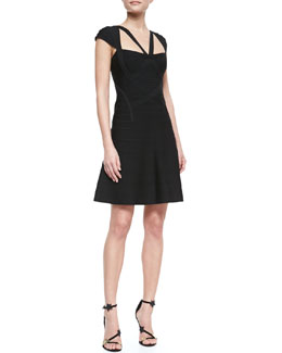 Herve Leger Cap-Sleeve Strappy Bandage Dress