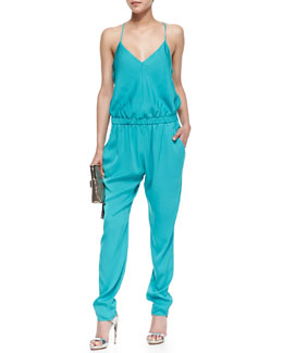Milly Stretch-Silk Racerback Jumpsuit, Dark Aqua