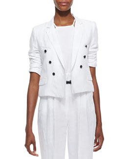 Milly Cropped Sailor-Style Blazer