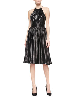 Tamara Mellon Shimmery Spaghetti-Wrap Halter Dress
