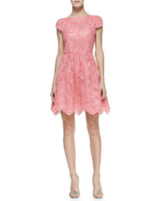Alice Olivia Zenden Scallop Lace Dress