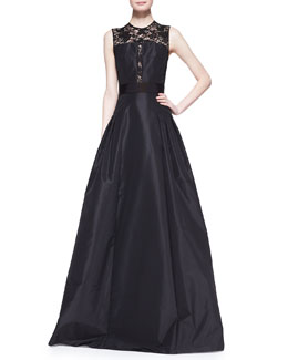 Carmen Marc Valvo Sleeveless Lace Illusion Bodice Gown