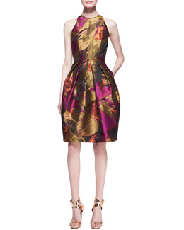 Carmen Marc Valvo Halter-Top Floral-Print Cocktail Dress