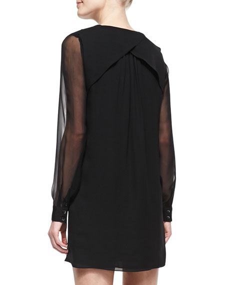 Plaid Sheer-Sleeve Silk Dress