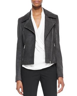 L'Agence Lambskin Leather Zip-Front Moto Jacket