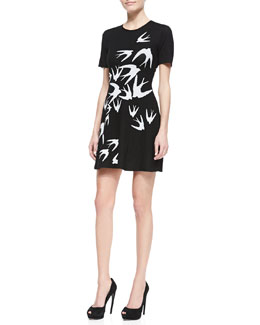 McQ Alexander McQueen Crepe Starling-Print Short-Sleeve Dress