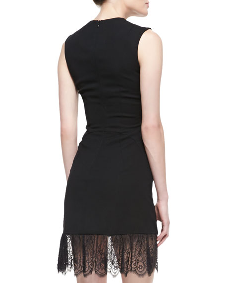 Crepe Lace-Bottom Sleeveless Dress