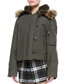 McQ Alexander McQueen Faux-Fur Hooded Cropped Jacket, Parka Gray-Green