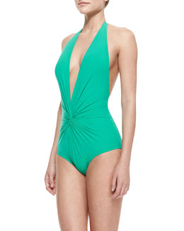 Karla Colletto Basic Plunge Twisted One-Piece Swimsuit