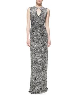 Diane von Furstenberg Printed Keyhole Maxi Dress