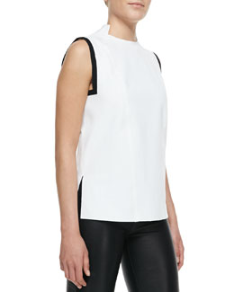 Helmut Lang Ravel Tipped Sleeveless Blouse
