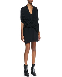 Helmut Lang Draped Jersey Overlap Dress