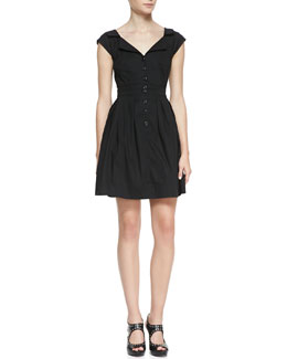 Nanette Lepore World Tour Button Cotton Shirtdress