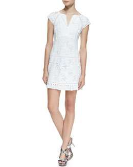 Nanette Lepore Island Rhythm Embroidered Fringe-Hem Dress
