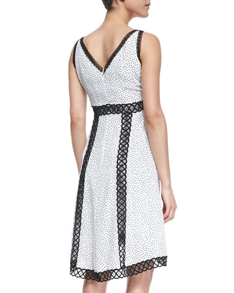 Daring Dot Sleeveless Silk Dress With Lace